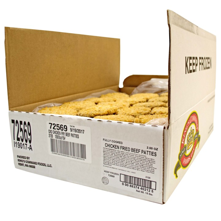 Fully Cooked Country Fried Beef Patties 120 2 Oz Bulk