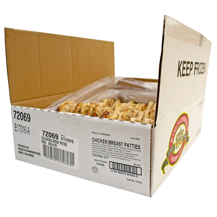 Fully Cooked Grilled Chicken Breast Patties 80/3 Oz Bulk