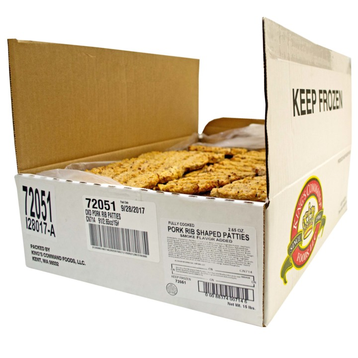 Kings Command Foods Fully Cooked Pork Rib Shaped Patties