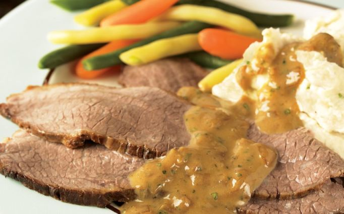 Beer-Braised Brisket with Mustard Sauce
