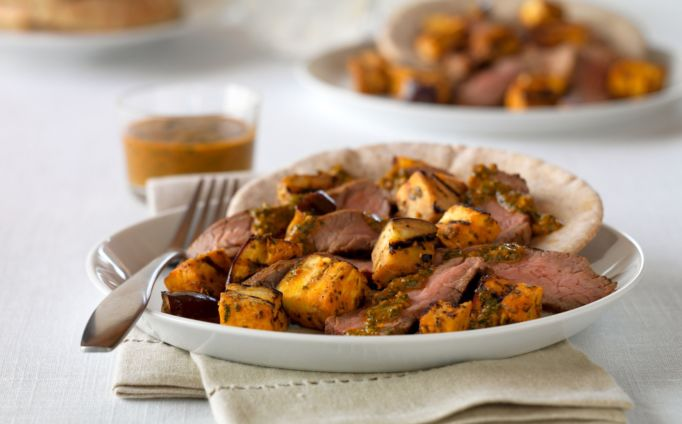 Zesty Moroccan Grilled Beef and Eggplant